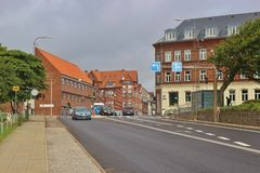 Street view of the town Esbjerg in Denmark. Esbjerg, Denmark - July 14, 2016: Street and houses in downtown Esbjerg.  Southwestern Denmark, Scandinavia, Europe Royalty Free Stock Photography