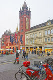Street view of Town Hall in the Marktplatz in Basel Stock Photography