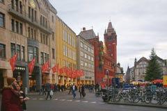 Street view of Town Hall on the Marktplatz in Basel Stock Photos