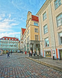 Street view of the Town Hall square in the Old city of Tallinn Royalty Free Stock Photos