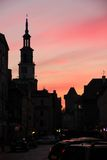 Town Hall tower silhouette at sunset. Poznan. Poland Royalty Free Stock Photo