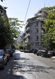 Athens, september 6th: Street view with Traditional Block of flats from Athens in Greece stock photography