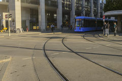 Street view of tram in Munich Royalty Free Stock Photography