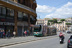 Street view with tram in Rome Stock Photos