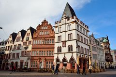 Street view in Trier, with Renaissance historic buildings Steipe and Rotes Haus. Stock Images