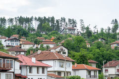 Street view of typical old Bulgarian architecture, Tryavna, Bulg Stock Photography