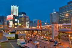 Street view of Ueno, Tokyo. Street in front of Ueno station, Tokyo, during the rush hour Royalty Free Stock Photo