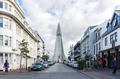 Street view up to the Hallgrimskirkja church in reykjavik, Iceland. Royalty Free Stock Image