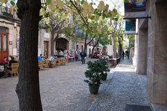 Street view in Valldemossa. Mallorca. November atmosphere on a relatively tourist free winter day in November 2011. Valldemossa, Mallorca, Balearic islands Royalty Free Stock Photography