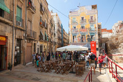 Street view with walking tourists, Tarragona, Spain Royalty Free Stock Photography