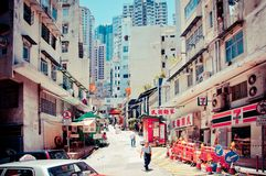 Street view in Wan Chai, Hong Kong Stock Images