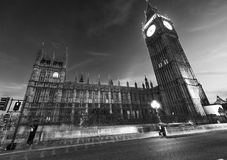 Street view of Westminster Palace at night in London - UK Royalty Free Stock Image