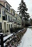Street View in the winter with snow stock photography