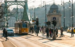 Street view with yellow tram and cars in Budapest Royalty Free Stock Image