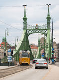 Street view with yellow tram and cars in Budapest Royalty Free Stock Photos