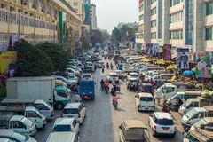 Street view of Zegyo Market in Mandalay Royalty Free Stock Photography