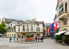 Street view in Zurich, Switzerland. Zurich is the largest city Royalty Free Stock Photography