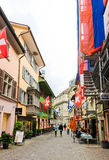 Street view in Zurich, Switzerland. Zurich is the largest city Stock Photo