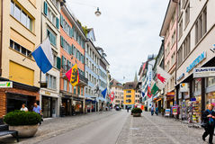 Street view in Zurich, Switzerland. Zurich is the largest city Royalty Free Stock Images