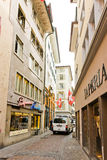 Street view in Zurich, Switzerland. Zurich is the largest city Stock Image