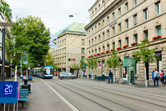 Street view in Zurich, Switzerland. Zurich is the largest city Stock Photos