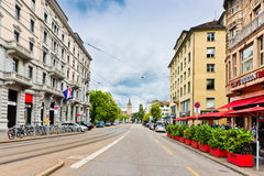 Street view in Zurich, Switzerland. Zurich is the largest city Royalty Free Stock Photo