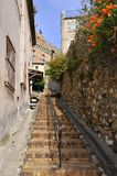 Street of the village of Cagnes in France Stock Image