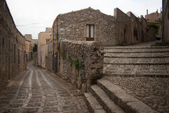 Street in the Village of Erice, Sicily Stock Photo