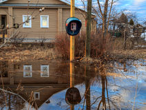 Street in the village, flooding water Royalty Free Stock Image