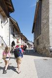 Street in the village of Gruyères, Switzerland Royalty Free Stock Images