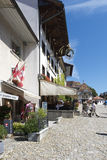Street in the village of Gruyères, Switzerland stock photos