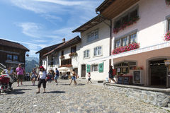 Street in the village of Gruyères, Switzerland Royalty Free Stock Image