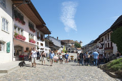 Street in the village of Gruyères, Switzerland Royalty Free Stock Photos
