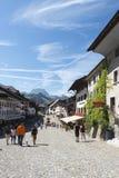 Street in the village of Gruyères, Switzerland Stock Photo