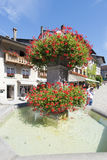 Street in the village of Gruyères, Switzerland stock photography