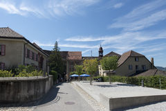Street in the village of Gruyères, Switzerland Stock Images