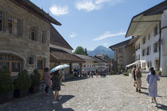 Street in the village of Gruyères, Switzerland Stock Photo
