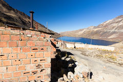 Street village town stone buildings old abandoned houses, lake, Bolivia. Stock Photography