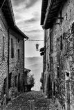 Street of the village in Vigoleno Stock Photography