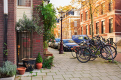 Street Vondelstraat in the center of Amsterdam. Netherlands. Royalty Free Stock Photo