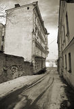 Street in Vyborg.Vintage stylized photo. Royalty Free Stock Images