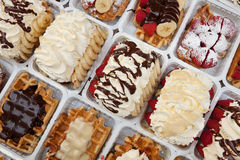 Street Waffles of Brussels Dressed with Strawberries Chocolate and Cream Stock Photography