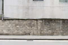 Street wall background ,Industrial background,. Empty grunge urban street with warehouse brick wall royalty free stock image