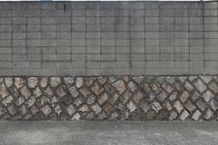Street wall background ,Industrial background,. Empty grunge urban street with warehouse brick wall stock photo