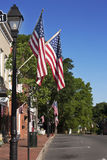 Street in Warrenton Virginia decorated with flags Stock Images