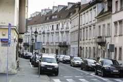 In the Warsaw`s Mariensztat, Warsaw, Poland Royalty Free Stock Image