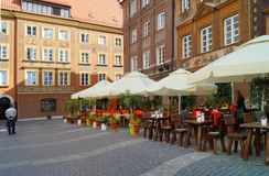 Street in Warsaw's Old Town. Beautiful Tenement houses Royalty Free Stock Photos