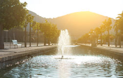 Street with water canal. Royalty Free Stock Photos