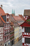 Street and wattle houses , nurnberg Royalty Free Stock Photos