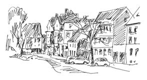 Street in Weimar. Hand-drawn sketch. Linear graphic illustration Royalty Free Stock Image